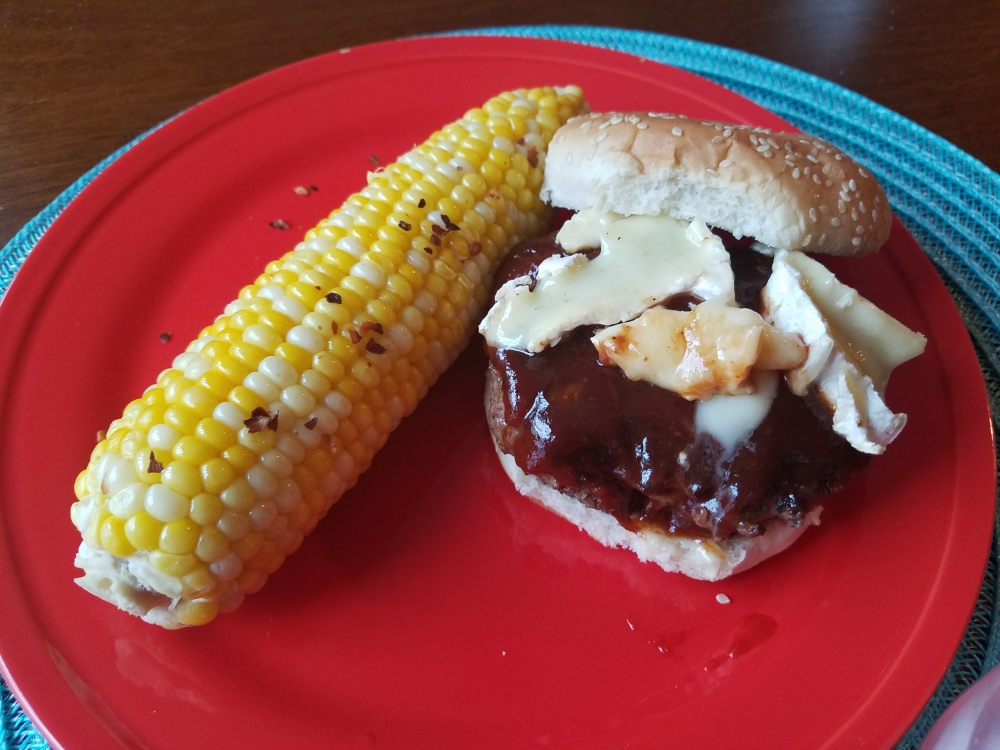 Brie BBQ Burger with Corn on the Cob