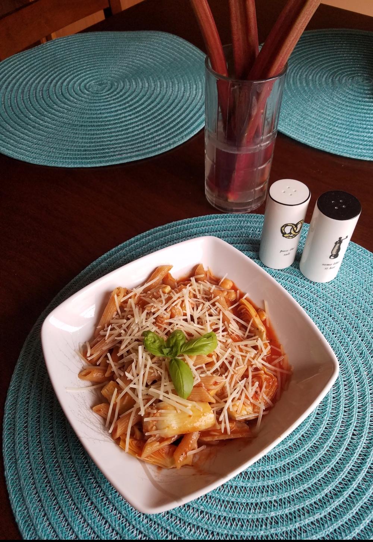Chickpea Artichoke Pasta w/ Red Sauce