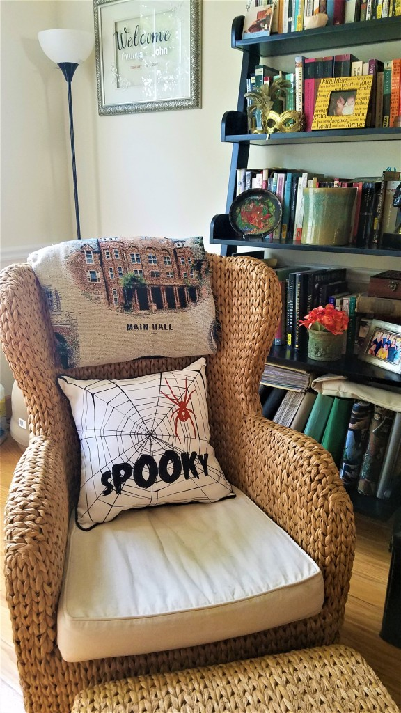throw pillow with spooky on it