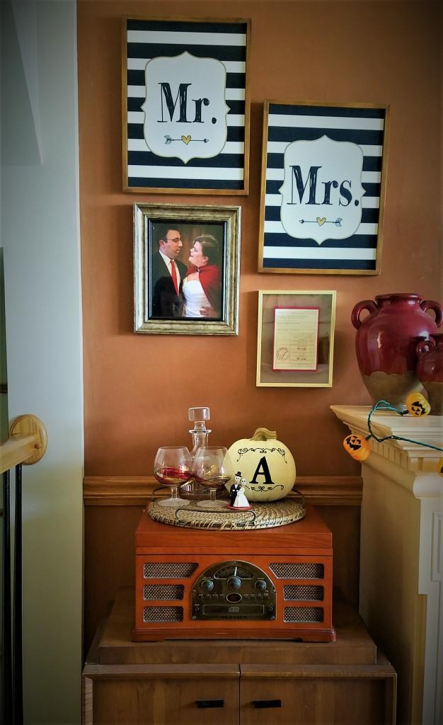 halloween decor: day of the dead bride and groom, married initial pumpkin, pumpkin string lights