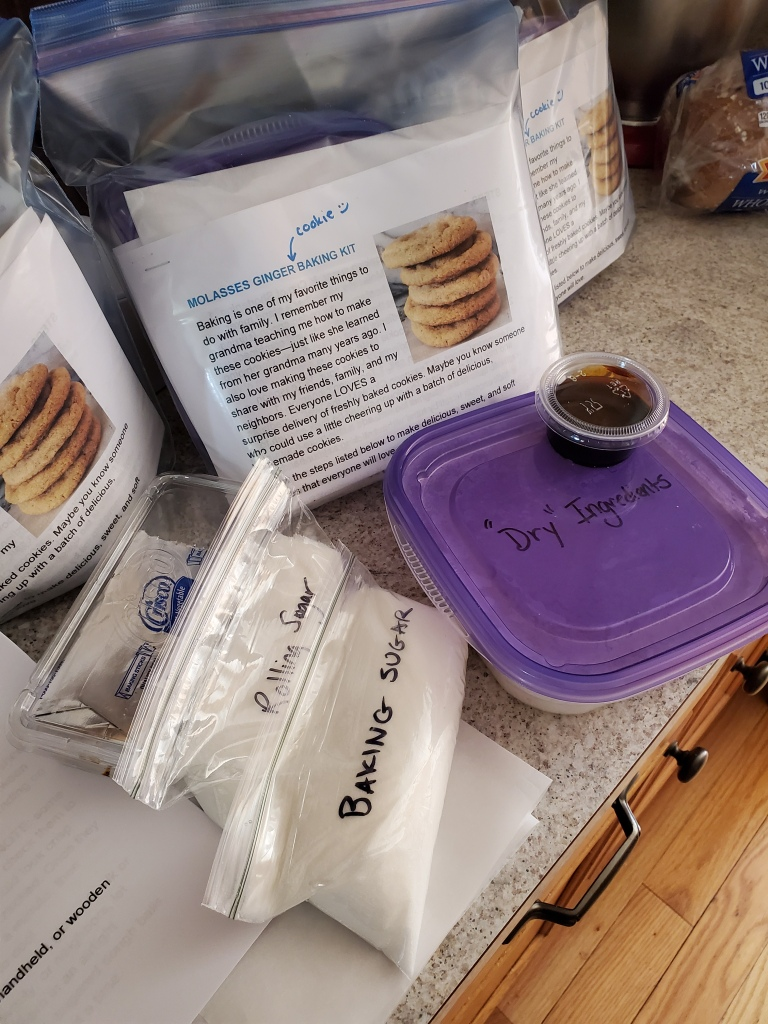 Baking kit for making molasses ginger cookies including all ingredients except an egg and an activity sheet